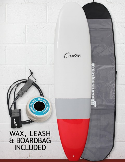 Cortez Funboard Surfboard Package 7ft 2 - Grey/Red Dip