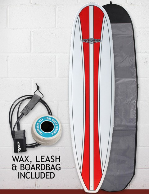 Cortez Funboard Surfboard Package 7ft 2 - Classic Red