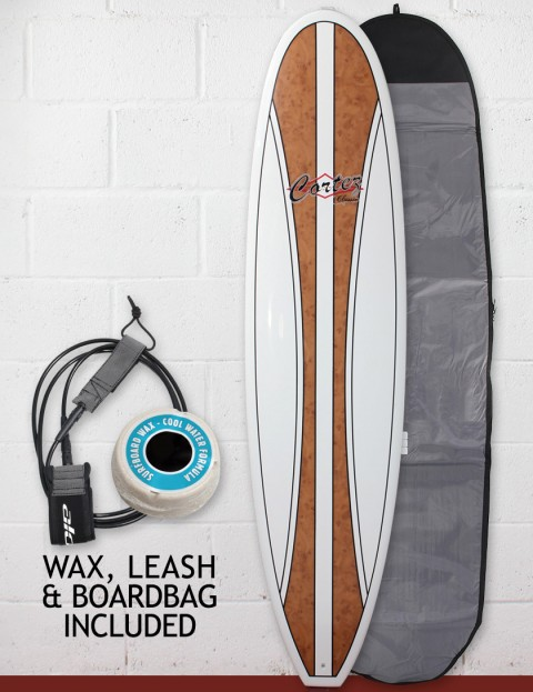 Cortez Fun Veneer Surfboard Package 7ft 6 - Natural Wood