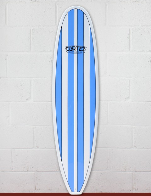 Cortez Funboard Surfboard 8ft 0 - Light Blue Stripes