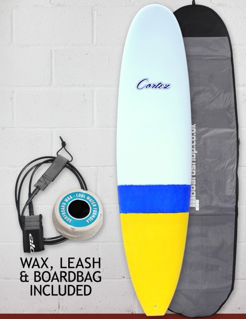 Cortez Funboard Surfboard 7ft 4 Package - Dip Yellow/Blue Sanded
