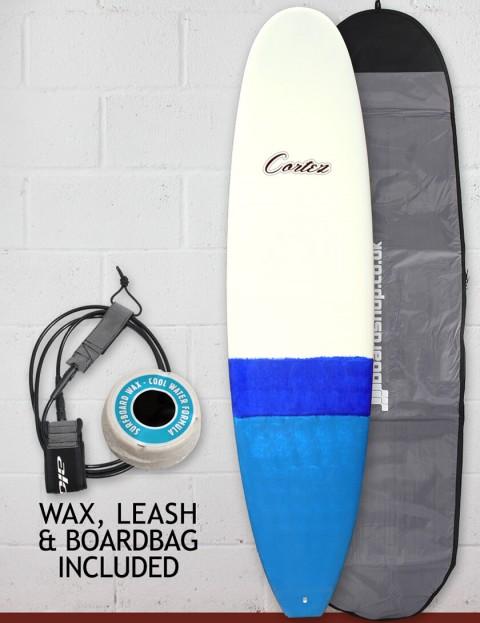 Cortez Funboard Surfboard 7ft 4 Package - Dip Blue Sanded