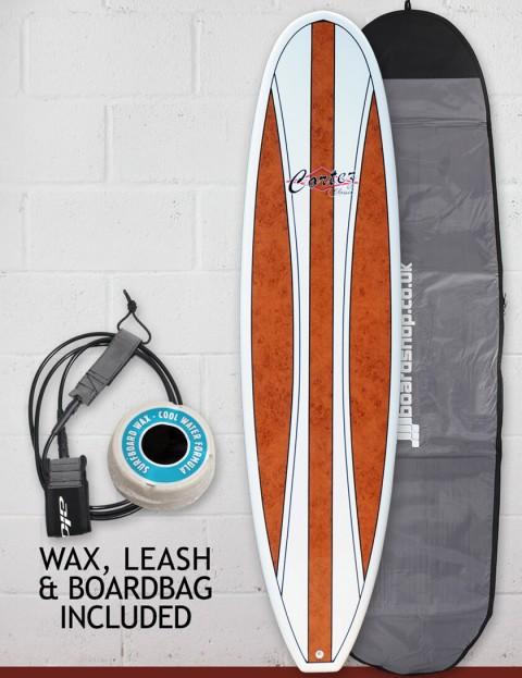 Cortez Fun Veneer surfboard package 7ft 2 - Dark Natural Wood