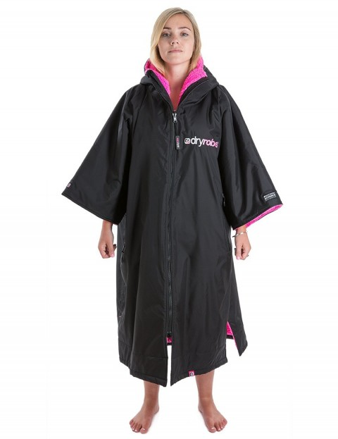 Dryrobe Advance Medium (adult slim size) outdoor change robe - Black/Pink
