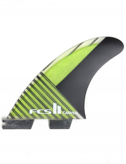 FCS II Carver Thruster PC Carbon Medium Tri Fin Set - Green