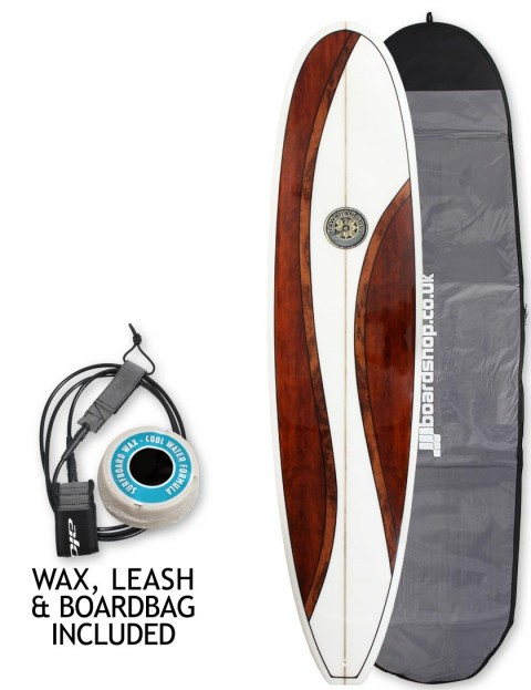 Hawaiian Soul Veneer Mini Mal surfboard package 8ft 0 - Walnut
