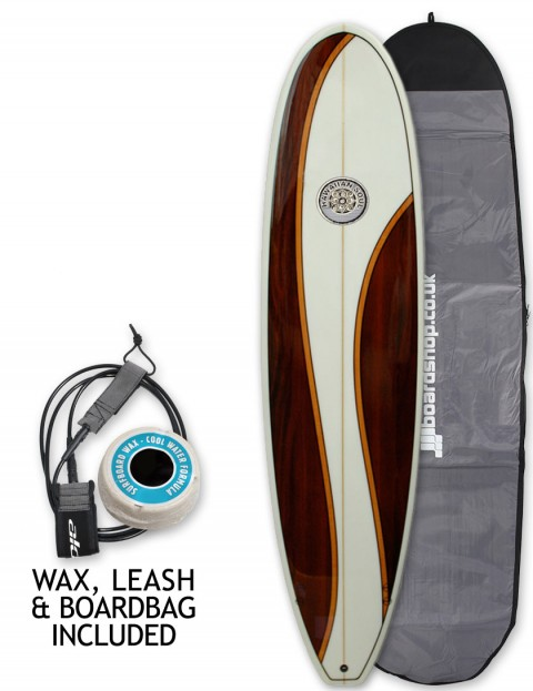 Hawaiian Soul Veneer Mini Mal surfboard package 8ft 6 - Mahogany