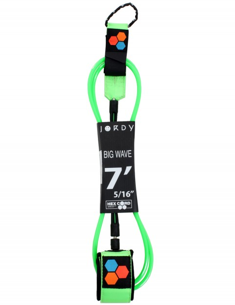 Channel Islands Jordy Big Wave Hex Cord surfboard leash 7ft - Fluoro Green