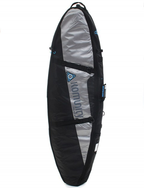 Komunity Project Stormrider Double Lightweight 10mm Traveller 6ft 8 Surfboard bag - Black/Grey