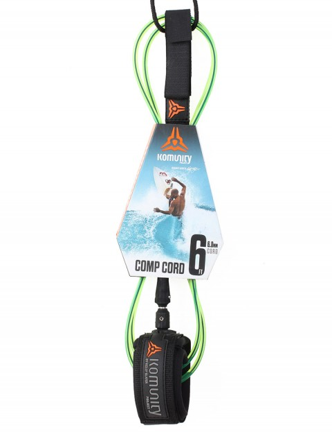 Komunity Project Comp Cord surf leash 6ft - Lime
