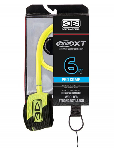 Ocean & Earth One XT Pro Comp surfboard leash 6ft - Yellow