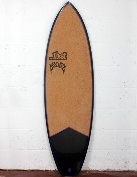 Lost Short Round Surfboard C3 Carbon Cork 5ft 10 FCS II - Blue Detail