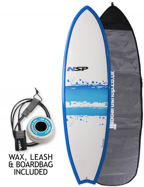NSP Elements Fish surfboard 7ft 4 package - Blue