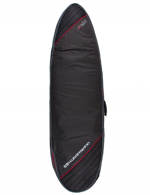 Ocean & Earth Double Compact Fish surfboard bag 10mm 6ft 4 - Black/Red