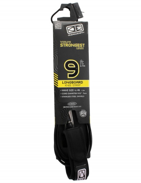 Ocean & Earth Longboard Knee Comp surfboard leash 9ft - Black
