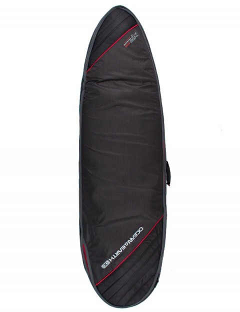 Ocean & Earth Triple Compact Fish surfboard bag 10mm 6ft 0 - Black/Red