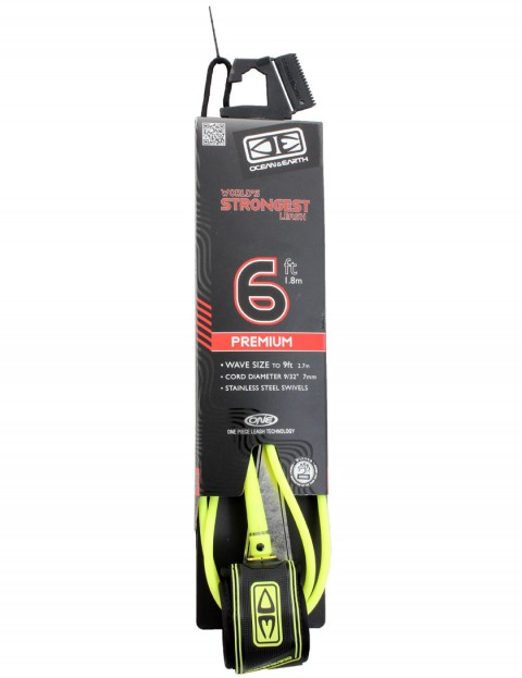 Ocean & Earth Premium One Piece Surfboard Leash 6ft - Yellow