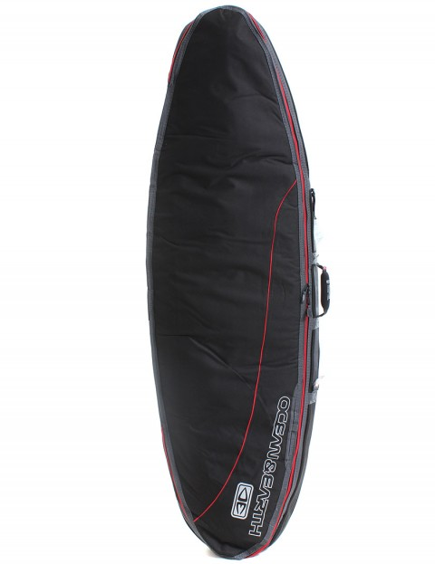 Ocean & Earth Double Compact Shortboard Surfboard bag 10mm 6ft 4 - Black/Red