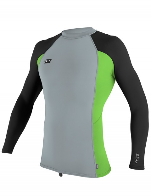 O'Neill Premium Skins Long Sleeve Rash Vest - Cool Grey/Dayglow/Black
