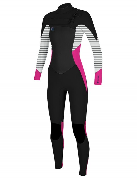 O'Neill Ladies O'Riginal Chest Zip 3/2mm wetsuit 2018 - Black/Punk Pink/Stripe