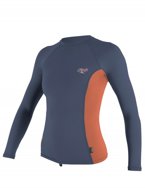 O'Neill Ladies Premium Skins Long Sleeve Rash Vest - Mist/Coral Punch/Mist
