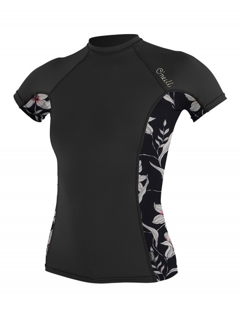 O'Neill Ladies Side Print Short Sleeve Rash Vest - Black