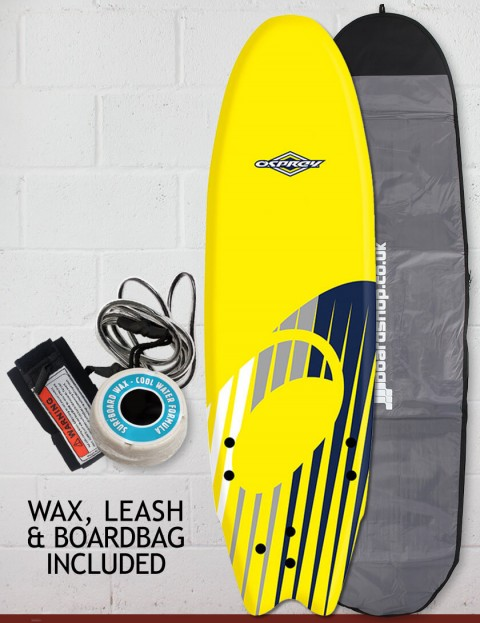 Osprey Fish Foam surfboard package 6ft 0 - Shard Yellow