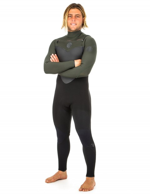 Rip Curl Flash Bomb Chest Zip 5/3mm Wetsuit 2019 - Black/Green