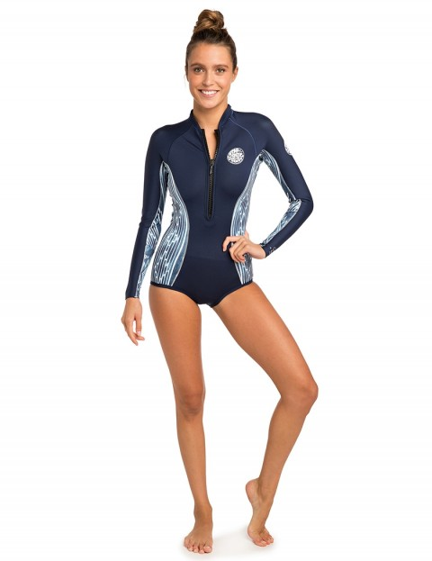 Rip Curl Ladies G-Bomb Long Sleeve shorty 1mm wetsuit 2019 - Blue/White