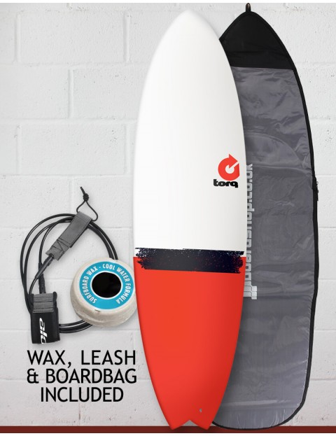 Torq Mod Fish surfboard package 6ft 6 - Red Tail Dip