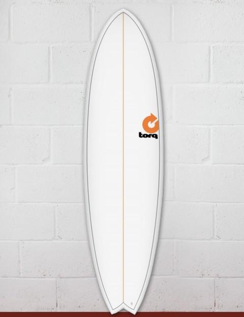 Torq Mod Fish surfboard 7ft 2 - White Pinline