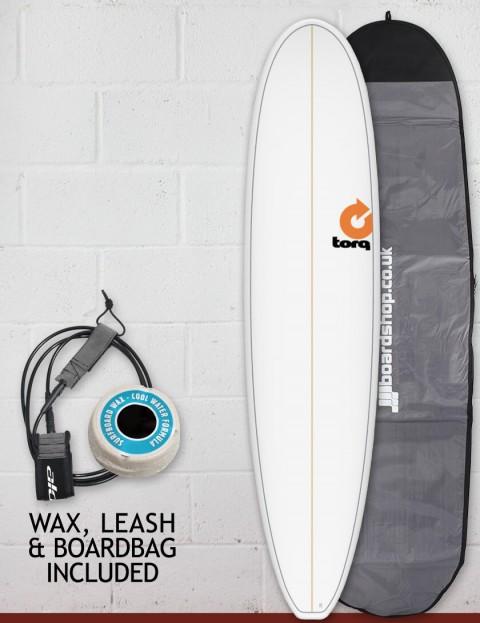 Torq Mini Long Surfboard package 8ft 0 - White Pinline