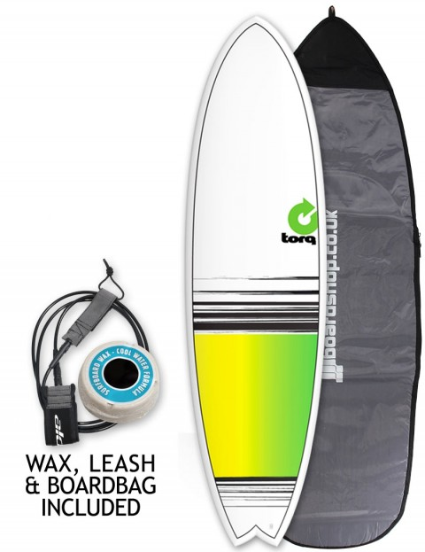 Torq Mod Fish surfboard package 6ft 10 - Yellow/Green Fade