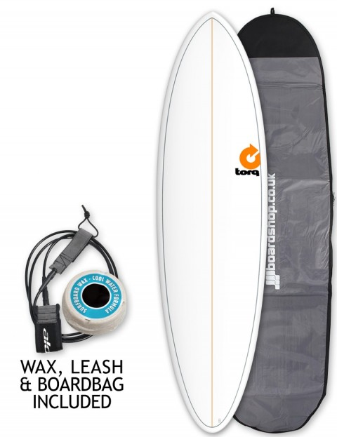 Torq Mod Fun surfboard package 6ft 8 - White/Pinline