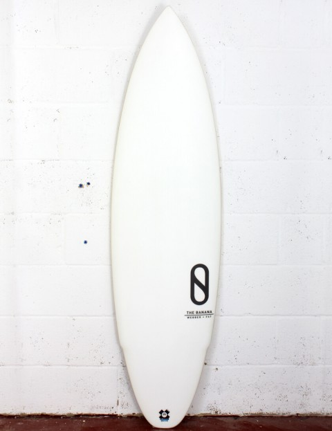 Slater Designs Banana surfboard 5ft 10 Futures - White