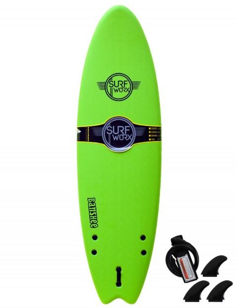 Surfworx Banshee Hybrid soft surfboard 6ft 6 - Apple Green