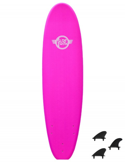 Surfworx Base Mini Mal soft surfboard 7ft 0 - Pink