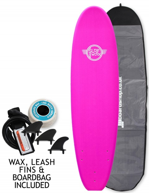 Surfworx Base Mini Mal soft surfboard package 7ft 0 - Pink