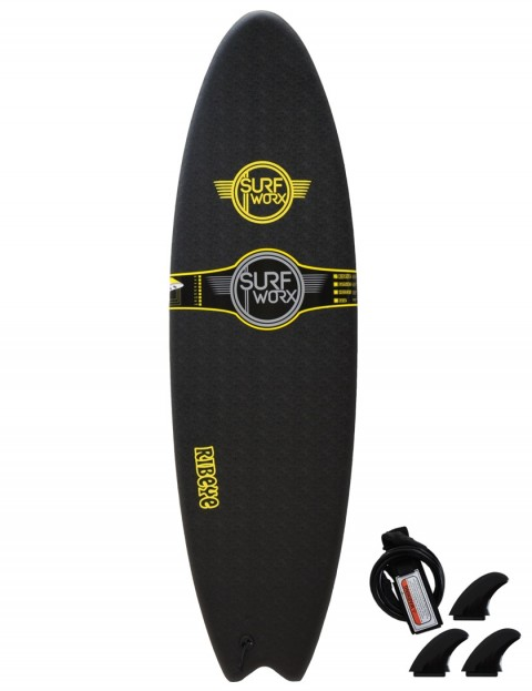 Surfworx Ribeye Hybrid soft surfboard 6ft 6 - Black