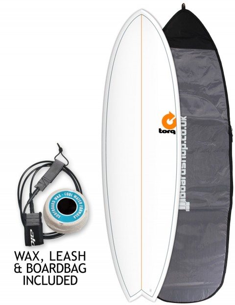 Torq Mod Fish surfboard package 6ft 6 - White/Pinline