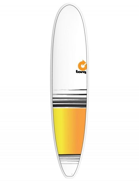Torq Longboard surfboard 8ft 6 - White/Yellow/Orange