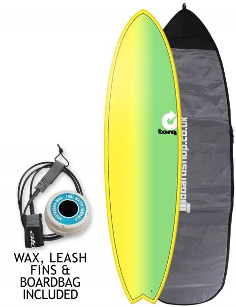 Torq Mod Fish surfboard package 6ft 10 - Yellow/Green Fade