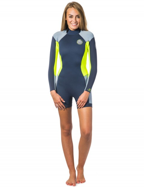 Rip Curl Ladies Dawn Patrol Long Sleeve Shorty 2/2mm Wetsuit 2017 - Charcoal