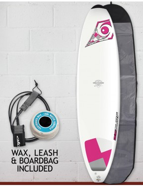 Bic DURA-TEC Wahine Mini Malibu surfboard package 7ft 3 - Pink