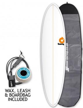 Torq Mod Fun surfboard package 7ft 2 - White/Pinline