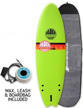 Alder Comp Fish Foam Surfboard Package 6ft 6 - Lime