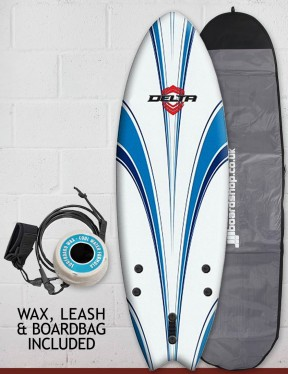 Alder Delta Hybrid Fish Package Soft surfboard 6ft - White/Blue