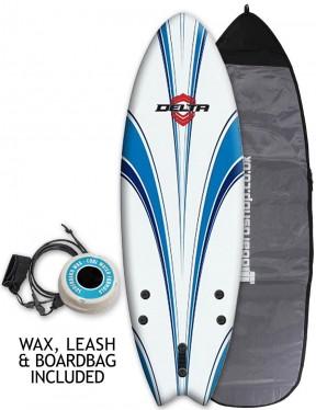 Alder Delta Hybrid Fish Package Soft surfboard 5ft 6 - White/Blue