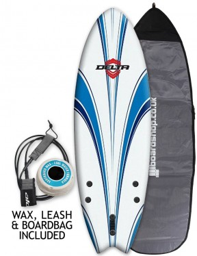 Alder Delta Hybrid Fish Package Soft surfboard 5ft 6 - White/Blue