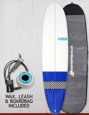 Blue Dot Mini Mal Surfboard Package 7ft 6 FCS - Blue/Checkerboard